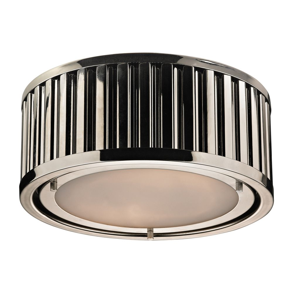 Linden Collection 2 Light Flush Mount In Polished Nickel- LED TN-90155 in Canada
