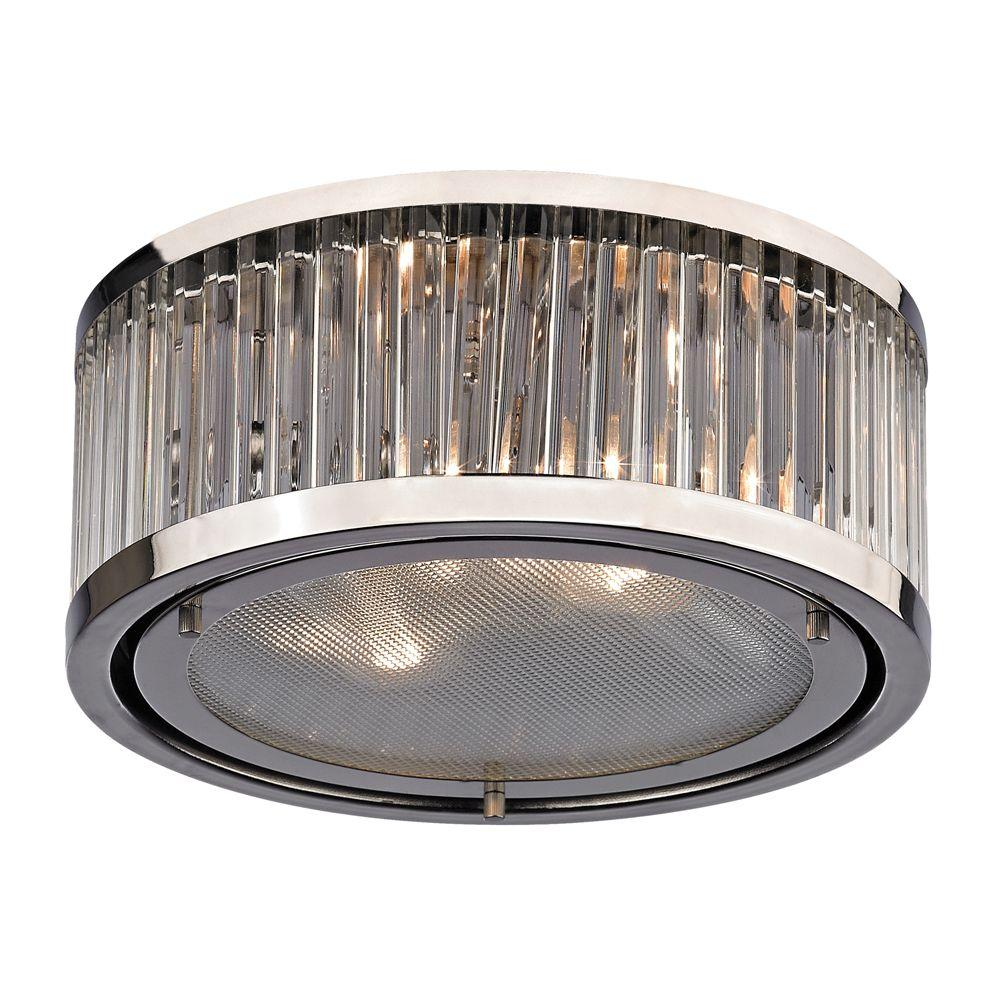 Titan Lighting Linden Collection 2 Light Flush Mount In Polished Nickel