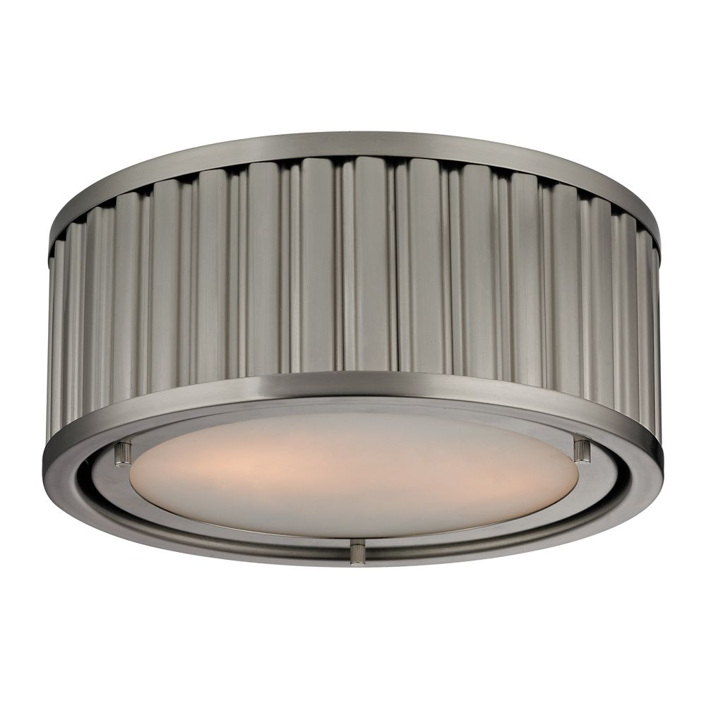 Titan Lighting Linden Collection 2 Light Flush Mount In Brushed Nickel