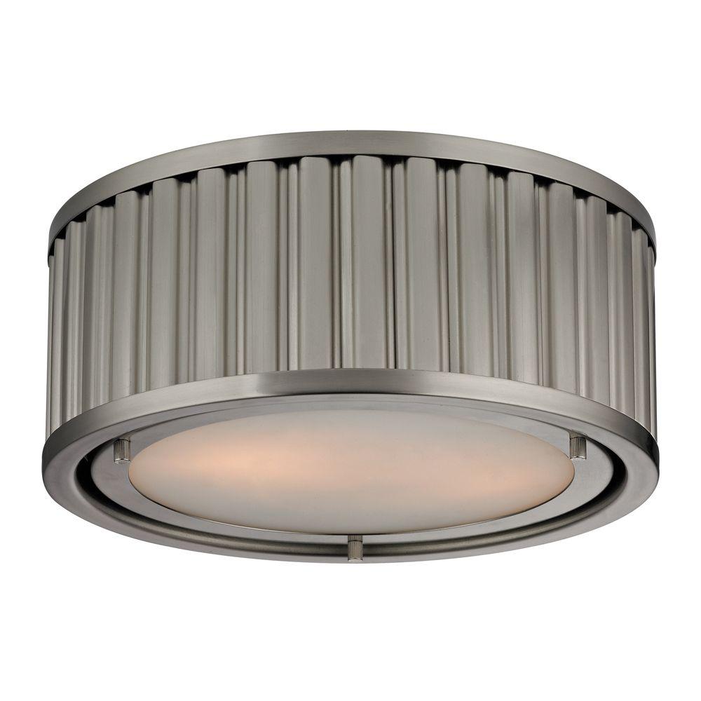 Linden Collection 2 Light Flush Mount In Brushed Nickel- LED