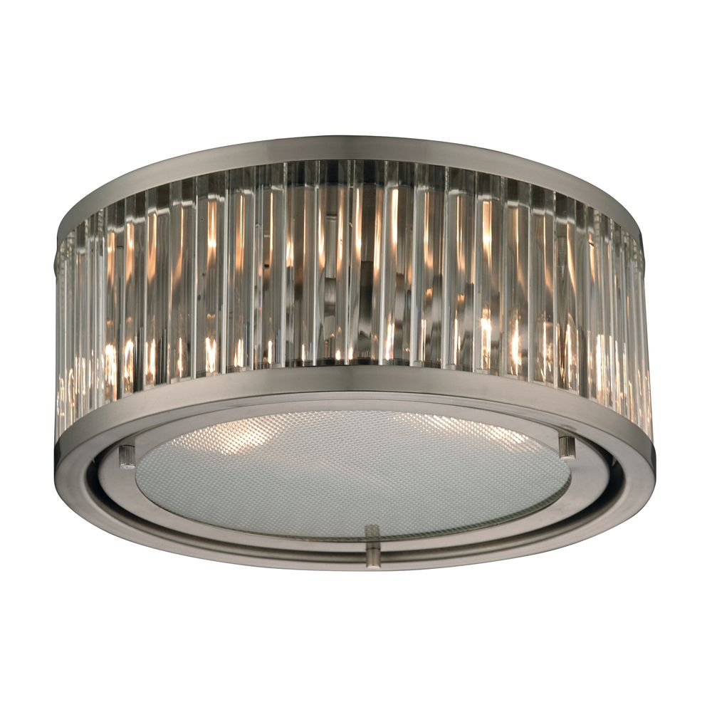 Titan Lighting Linden Collection 2 Light Flush Mount In Brushed Nickel The Home Depot Canada
