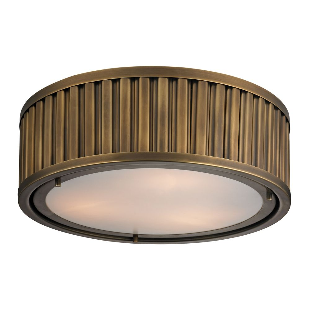 Linden Collection 3 Light Flush Mount In Aged Brass - LED