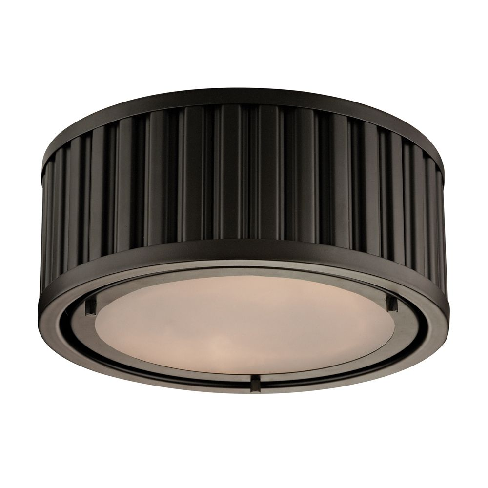 Linden Collection 2 Light Flush Mount In Oil Rubbed Bronze- LED