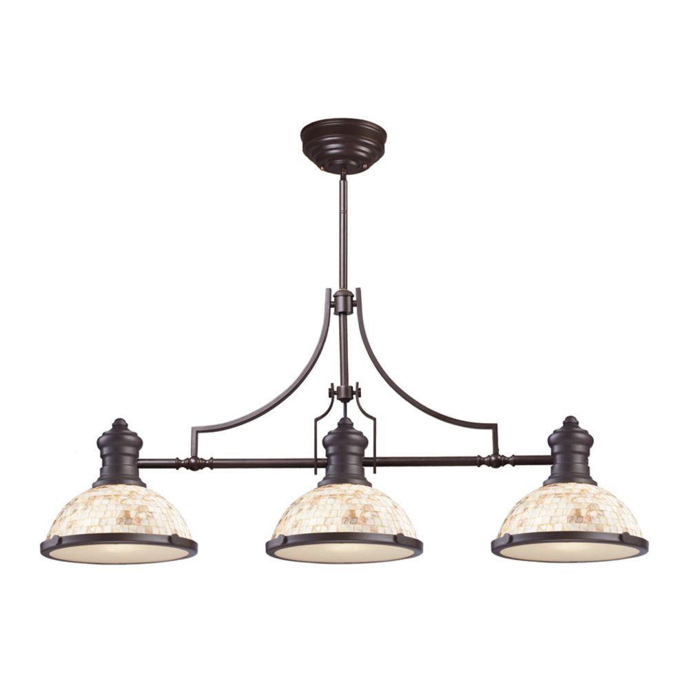 Chadwick 3-Light Island Light In Oiled Bronze With Cappa Shell