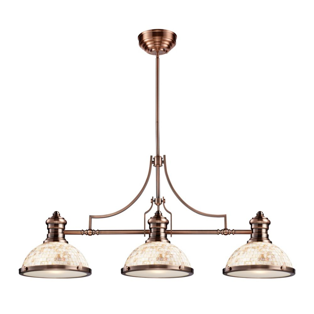 Titan Lighting Chadwick 3-Light Island Light In Antique Copper With Cappa Shell