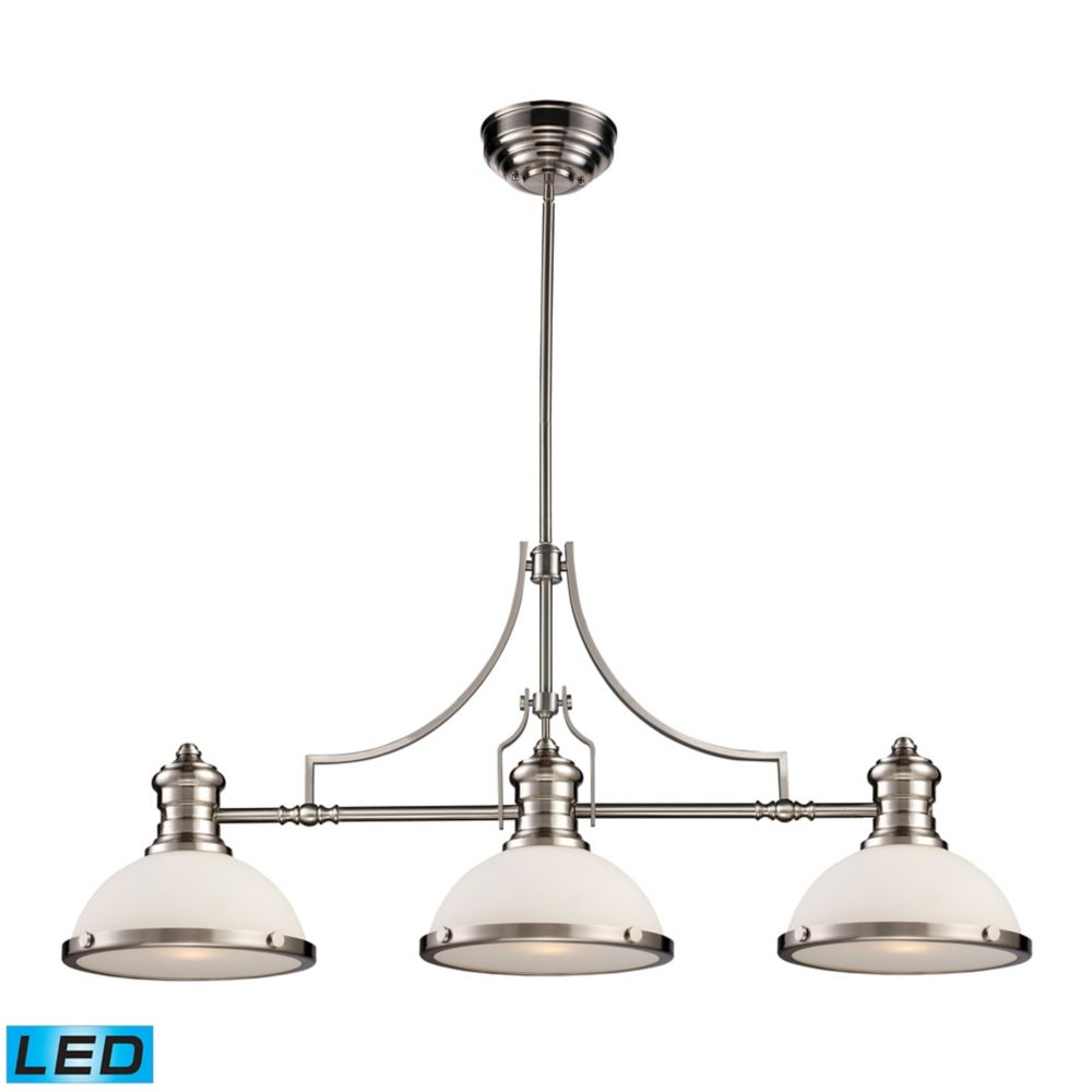 Chadwick 3-Light Island Light In Satin Nickel - LED