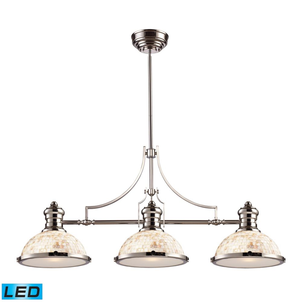Chadwick 3-Light Island Light In Polished Nickel With Cappa Shell - LED