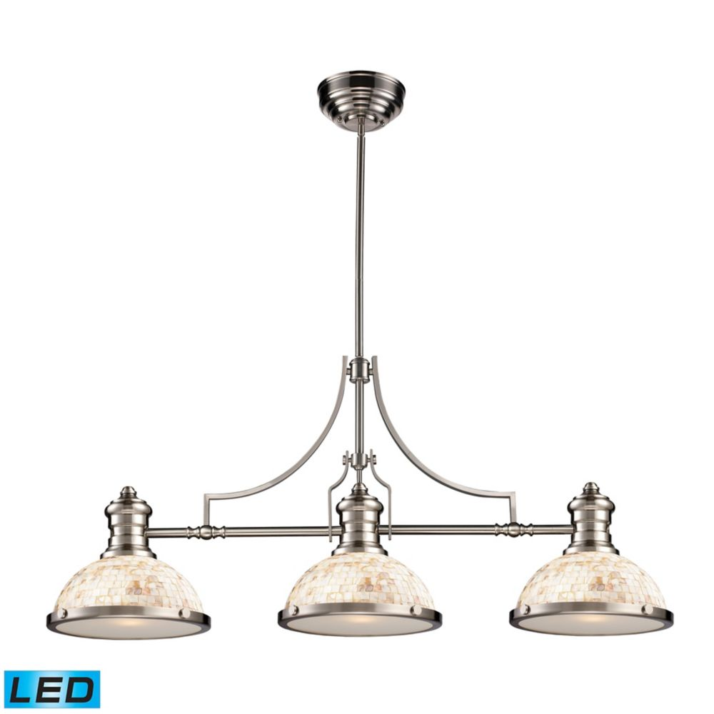 Chadwick 3-Light Island Light In Satin Nickel With Cappa Shell - LED
