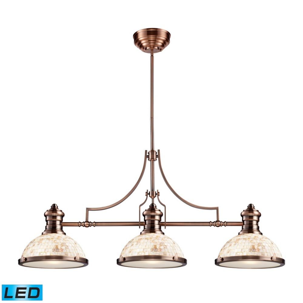 Chadwick 3-Light Island Light In Antique Copper With Cappa Shell - LED
