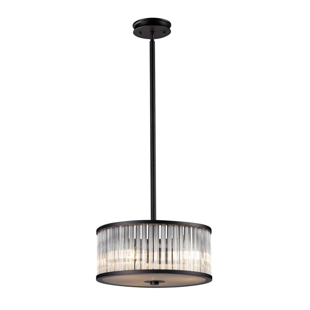 Braxton 3 Light Pendant In Aged Bronze