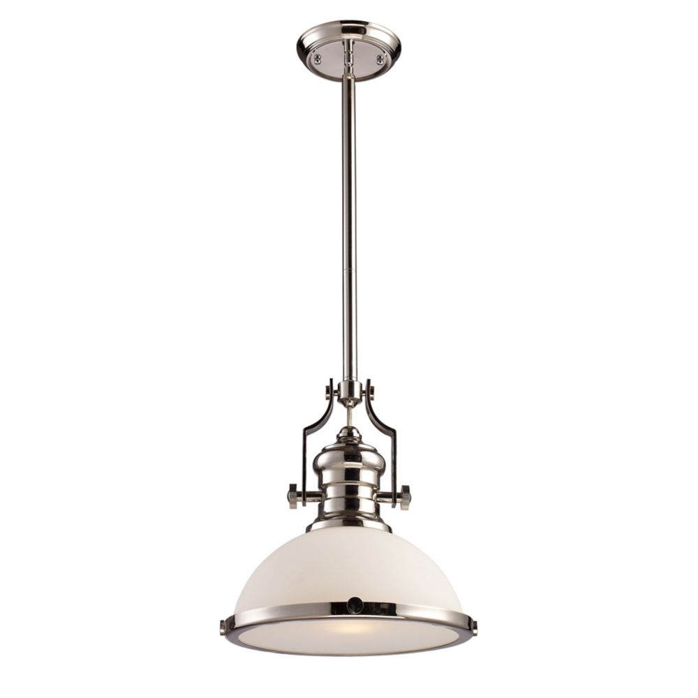 Titan Lighting Chadwick 1 Light Pendant In Polished Nickel