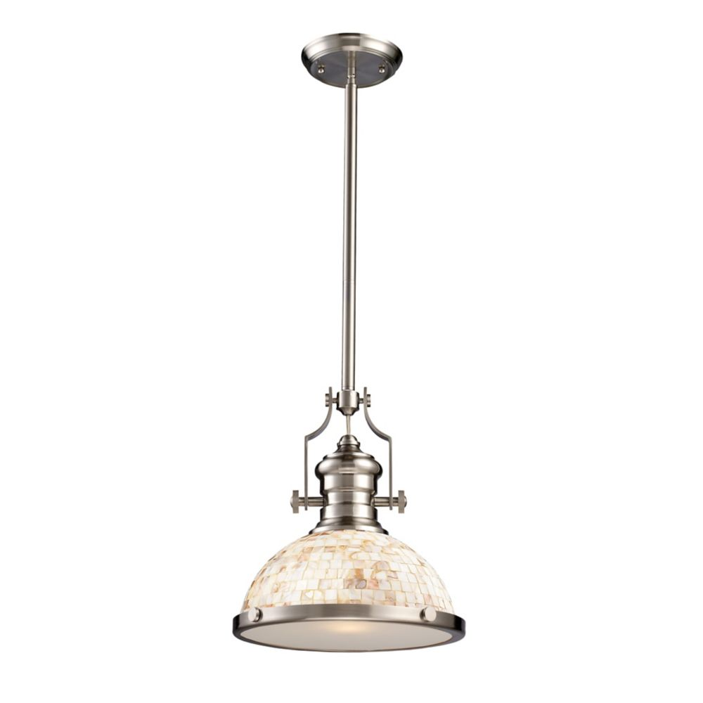Chadwick 1-Light Pendant Satin Nickel And Cappa Shell