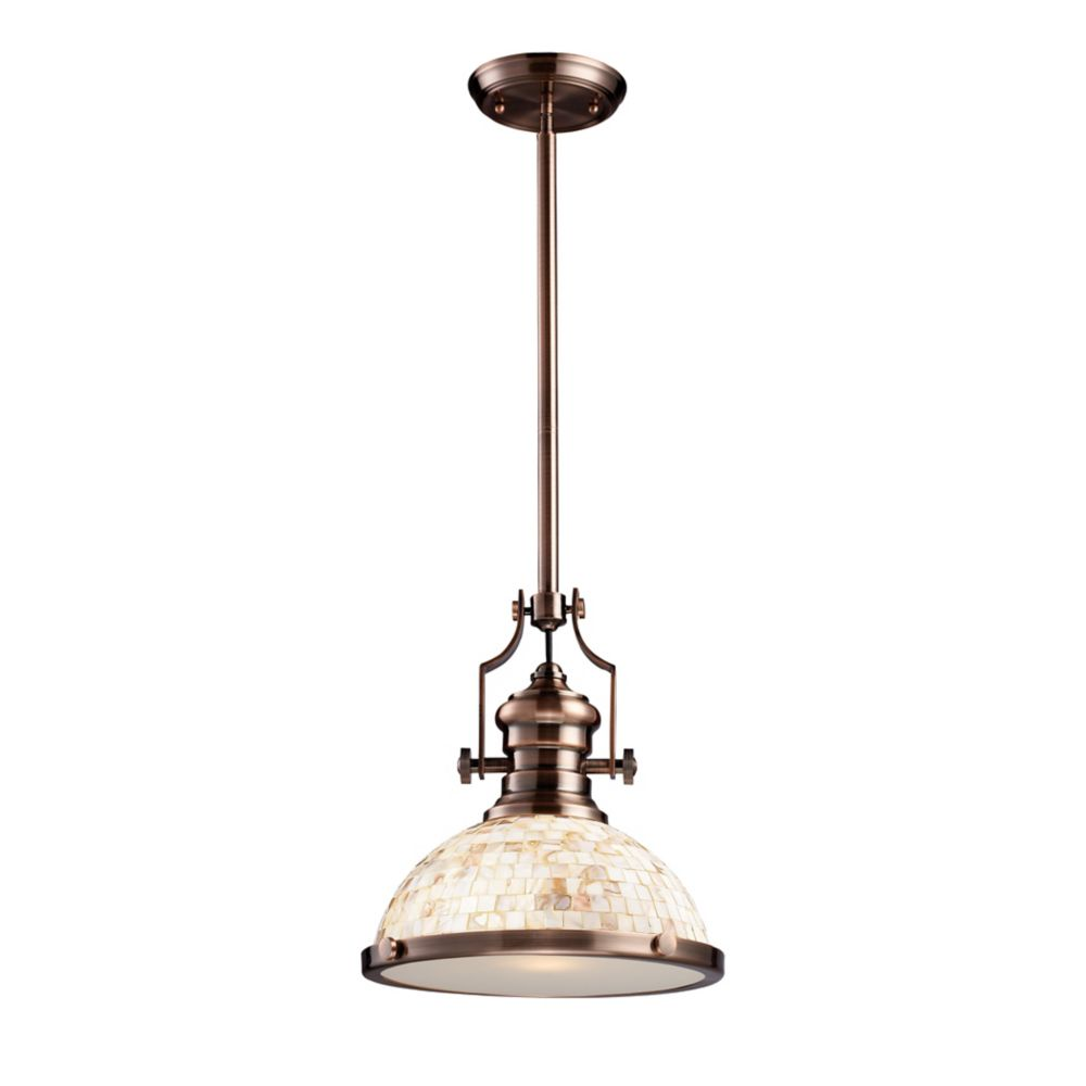 Chadwick 1-Light Pendant Antique Copper And Cappa Shell
