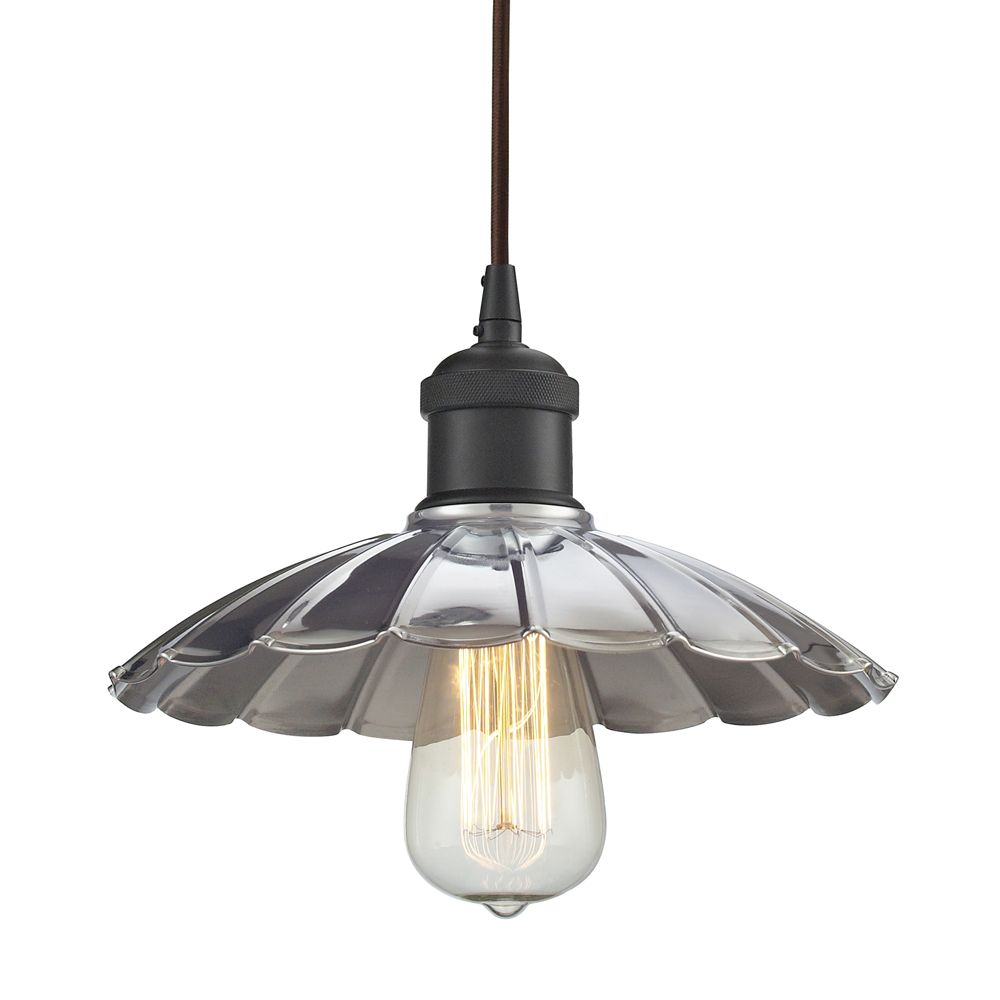 Corrine 1 Light Pendant In Oil Rubbed Bronze/Chrome