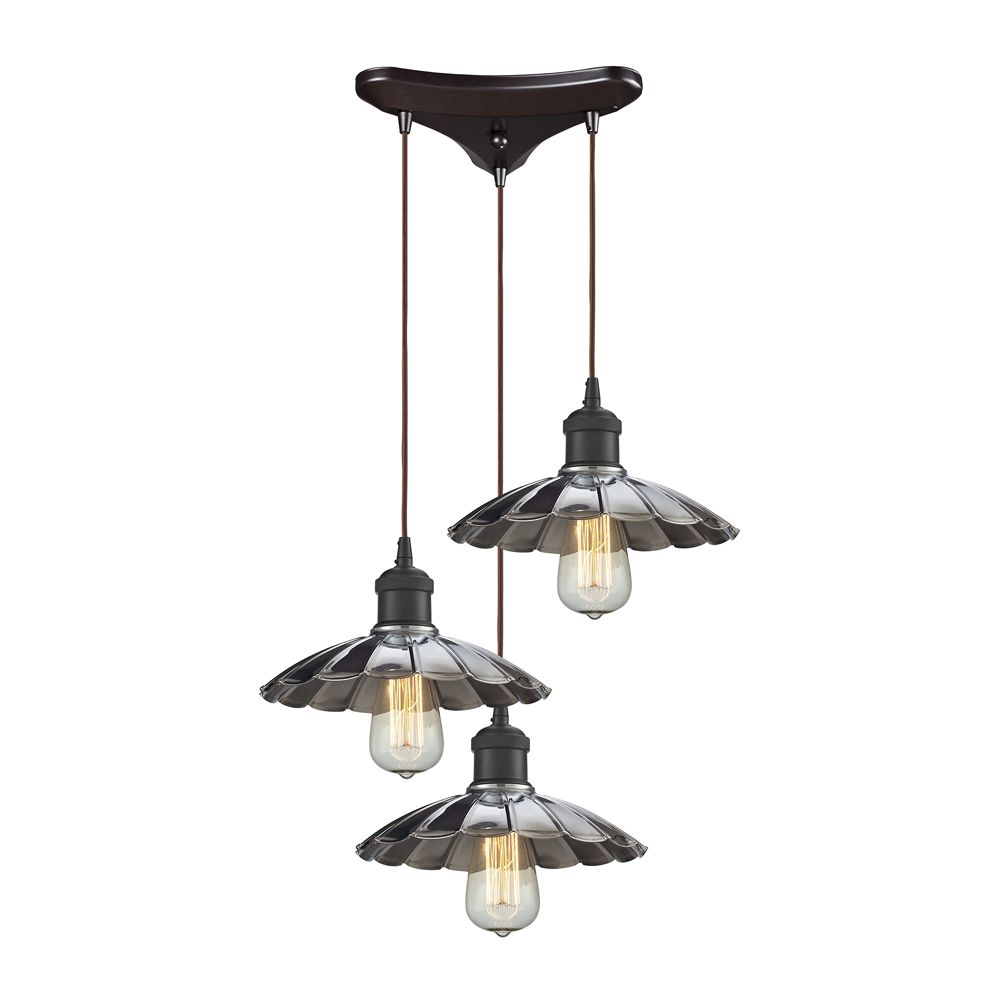 titan lighting luminaire suspendu 3 ampoules corrine au fini bronze huil et chrome home. Black Bedroom Furniture Sets. Home Design Ideas