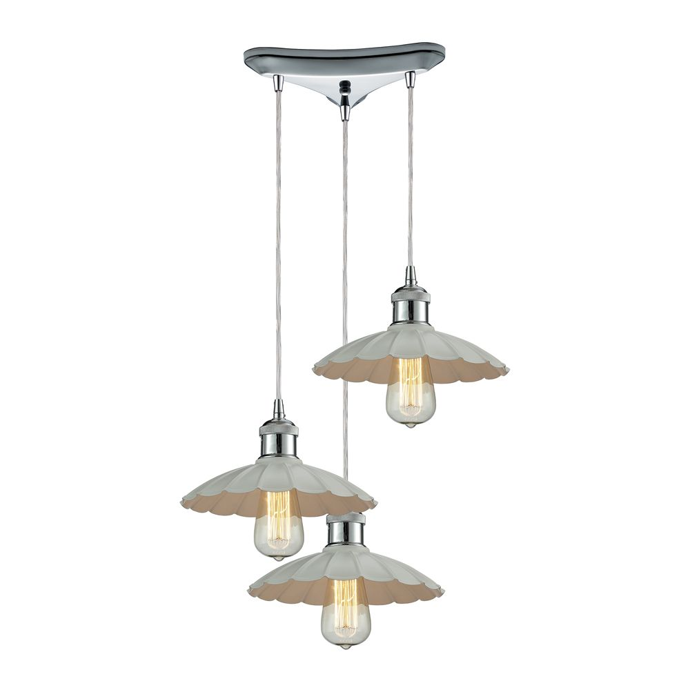 Corrine  Light Pendant In Polished Chrome/White
