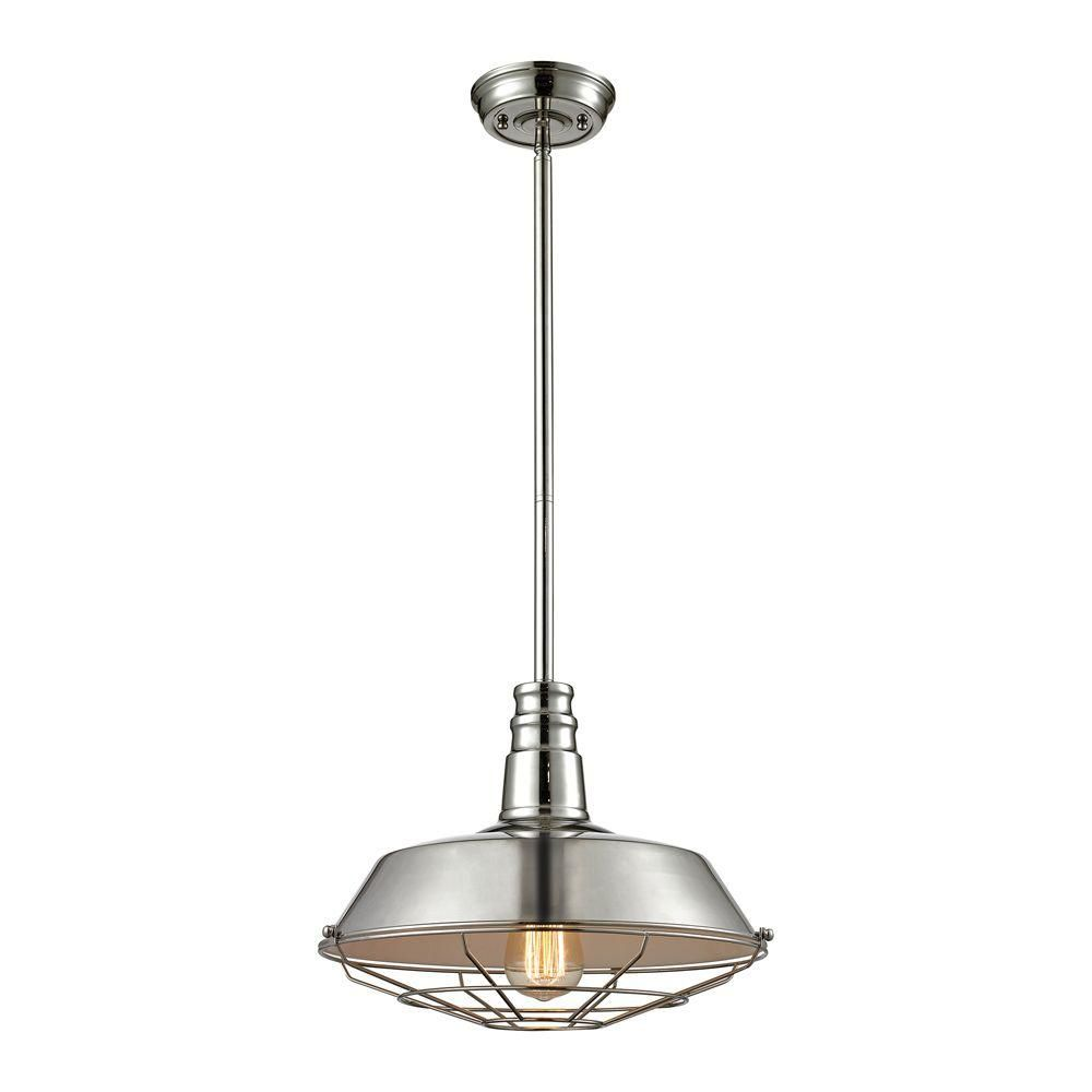 Warehouse Pendant 1 Light Pendant In Polished Nickel