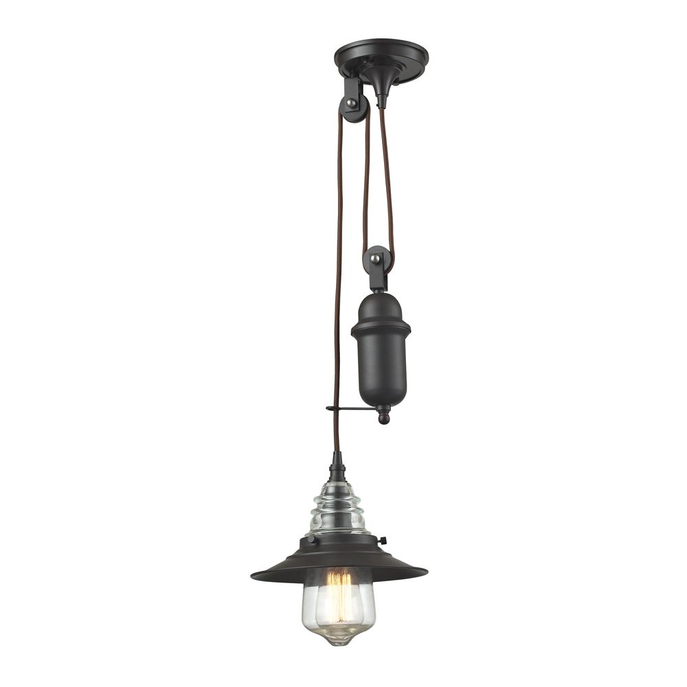 Insulator Glass 1 Light Pendant In Oil Rubbed Bronze
