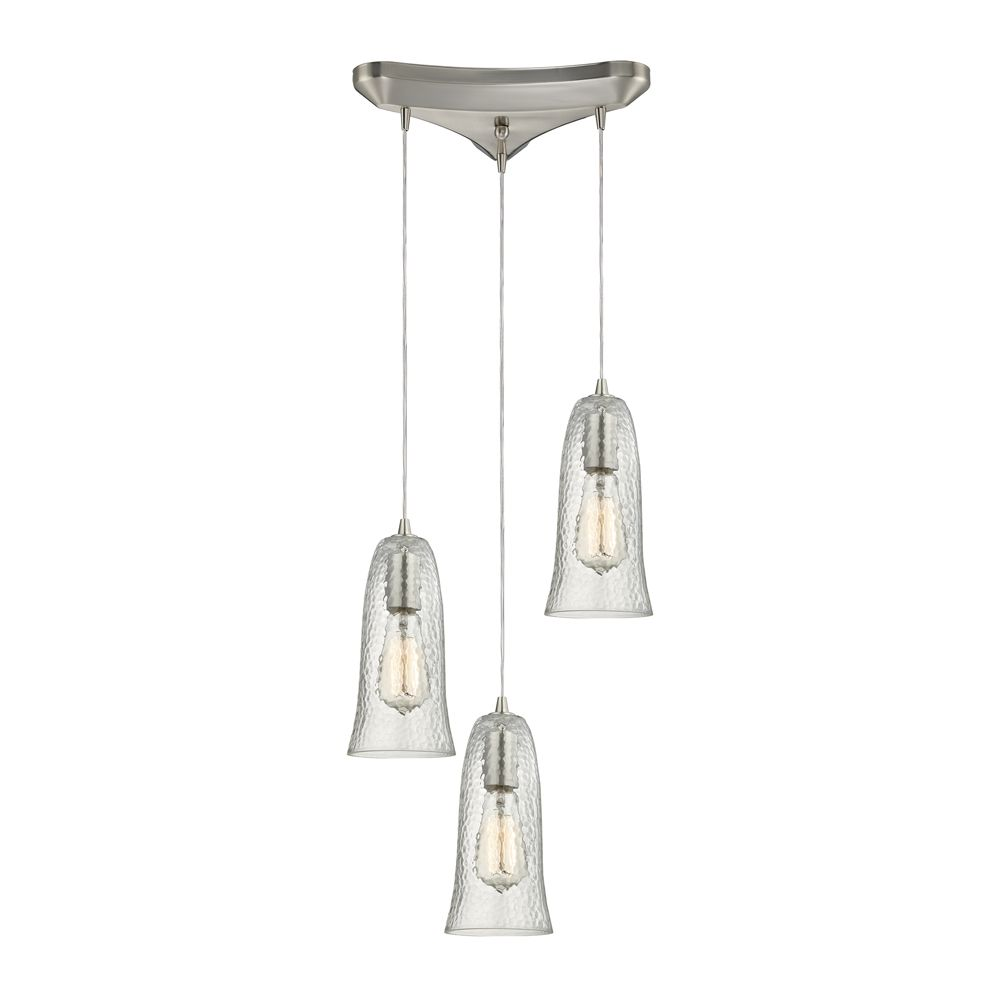 Hammered Glass 3 Light Pendant In Satin Nickel