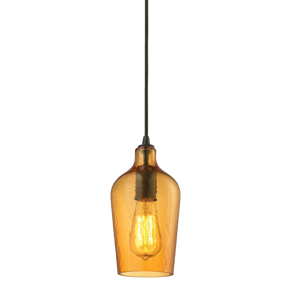 Hammered Glass Collection 1 Light Mini Pendant In Oil Rubbed Bronze TN-39154 in Canada