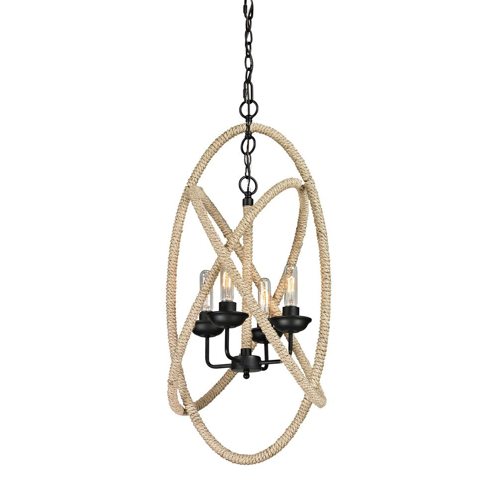 Pearce Collection 4 Light Chandelier In Matte Black