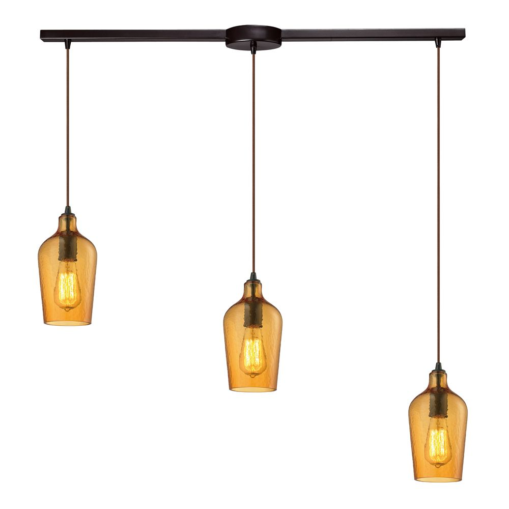 Hammered Glass Collection 3 Light Chandelier In Oil Rubbed Bronze