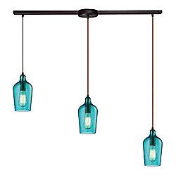 Titan Lighting Lustre à 3ampoules Hammered Glass au fini bronze huilé
