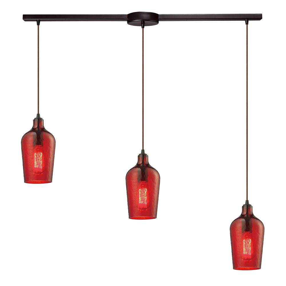 Titan Lighting Hammered Glass 3-Light Linear Bar In Oil Rubbed Bronze With Red Glass Pendant
