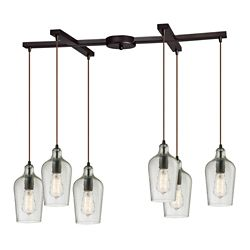 Titan Lighting Lustre à 6ampoules Hammered Glass au fini bronze huilé
