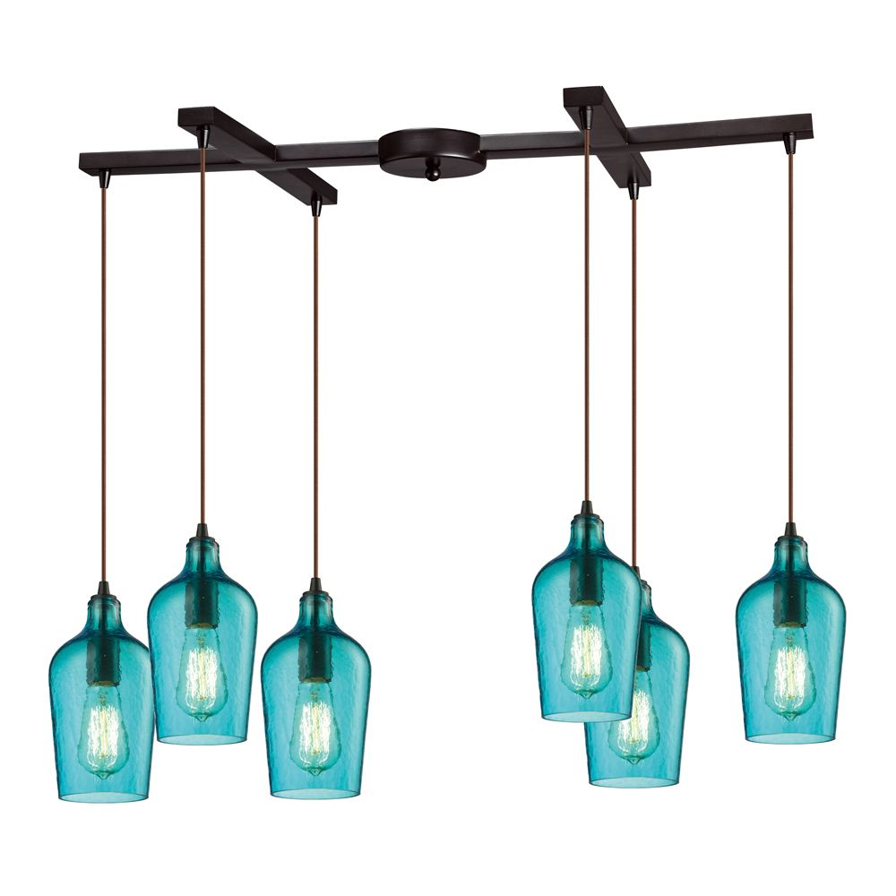 Hammered Glass Collection 6 Light Chandelier In Oil Rubbed Bronze