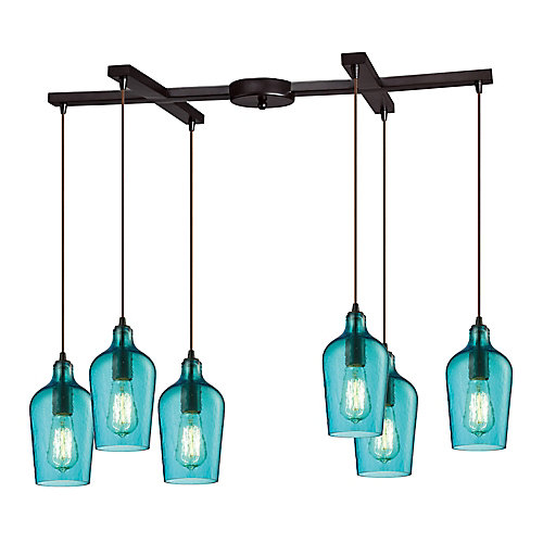 Hammered Glass 6-Light Oil Rubbed Bronze With Aqua Glass Pendant