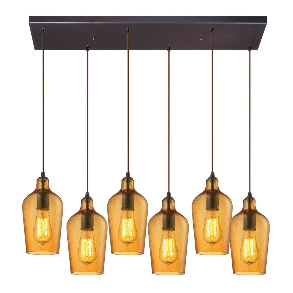 Titan Lighting Hammered Glass 6-Light Rectangle In Oil Rubbed Bronze With Amber Glass Pendant