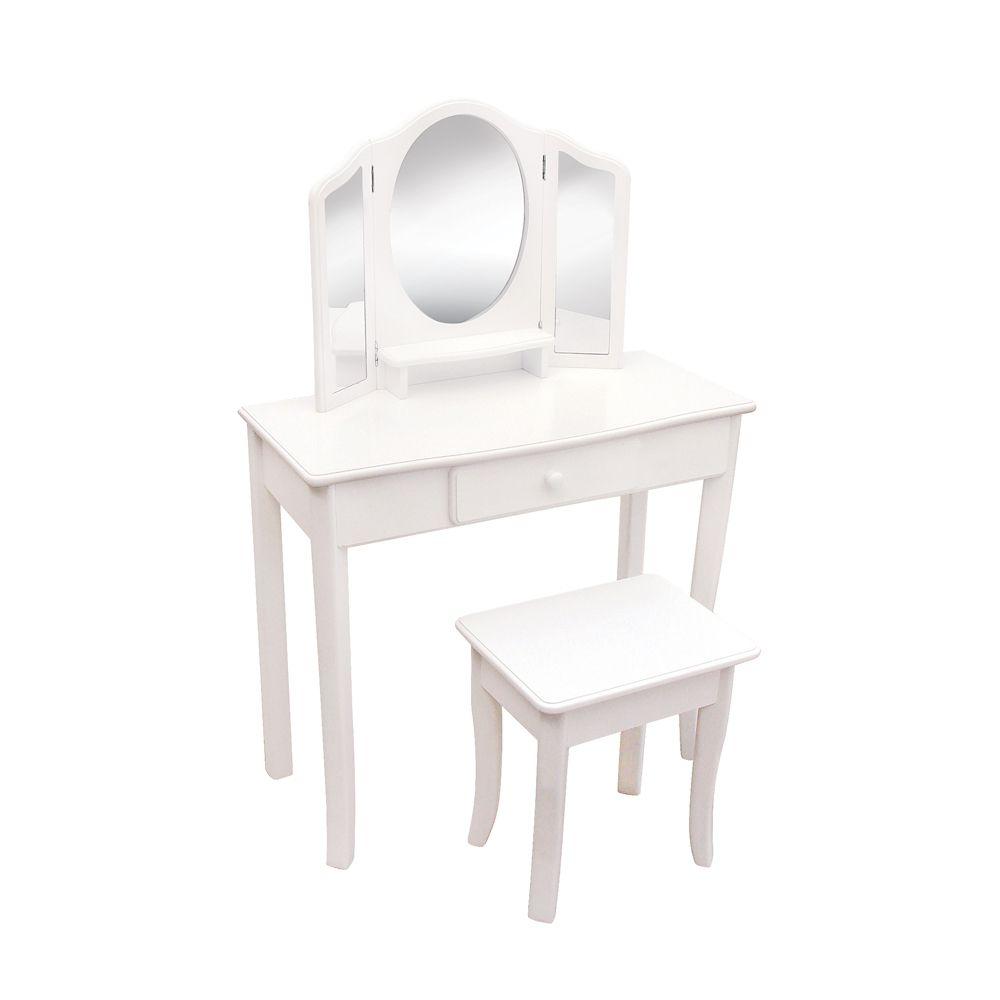 Table à maquiller classique blanche et tabouret