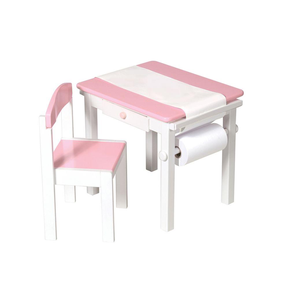 Table pour arts plastiques et chaise - rose