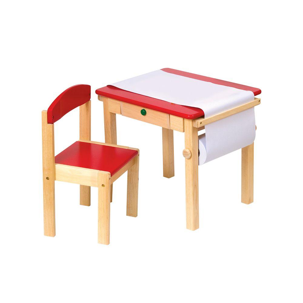 Table pour arts plastiques et chaise - rouge