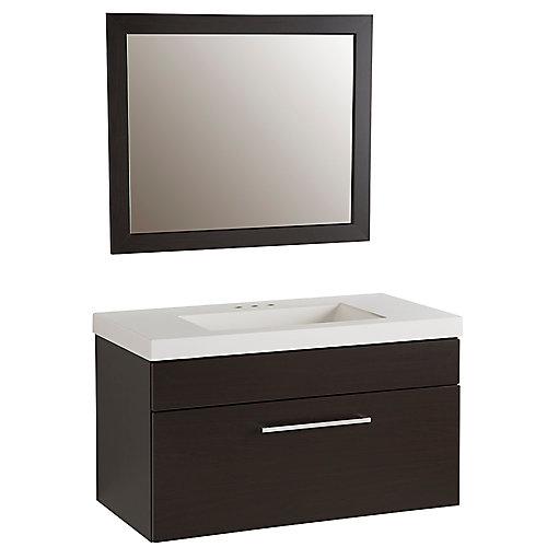 Meuble-lavabo Boxwell de 91,44 cm (36 po)  de couleur Espresso avec revêtement de comptoir AB de couleur blanche et miroir