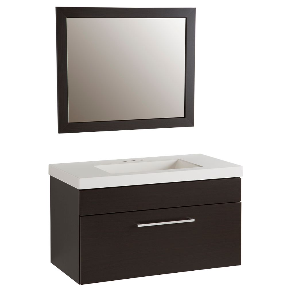 GLACIER BAY Boxwell 36.5-inch W 1-Drawer Freestanding Vanity in Brown With Ceramic Top in White With Mirror