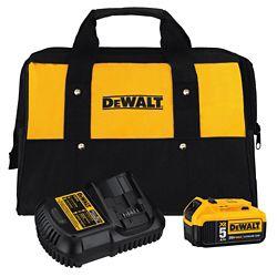 DEWALT Kit de démarrage au lithium-ion 20V MAX XR avec batterie de qualité supérieure 5.0Ah, chargeur et sac de kit
