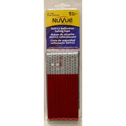 """NuVue Products Reflective Tape Red/White DOT-C2, 2"""" X 36"""" Roll 11"""" red / 7"""" white repeating pattern"""