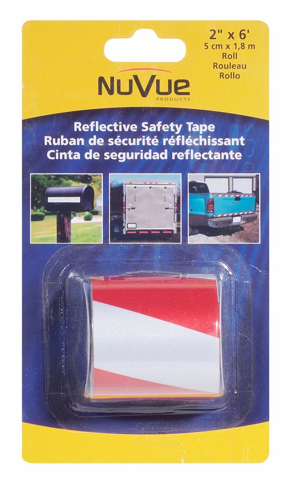 "NuVue Products Reflective Tape Red/White Barrel Stripe, 2"" x 6' Roll"