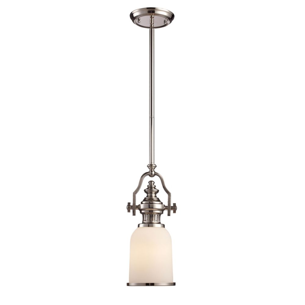 titan lighting luminaire suspendu 1 ampoule chadwick au fini nickel poli home depot canada. Black Bedroom Furniture Sets. Home Design Ideas