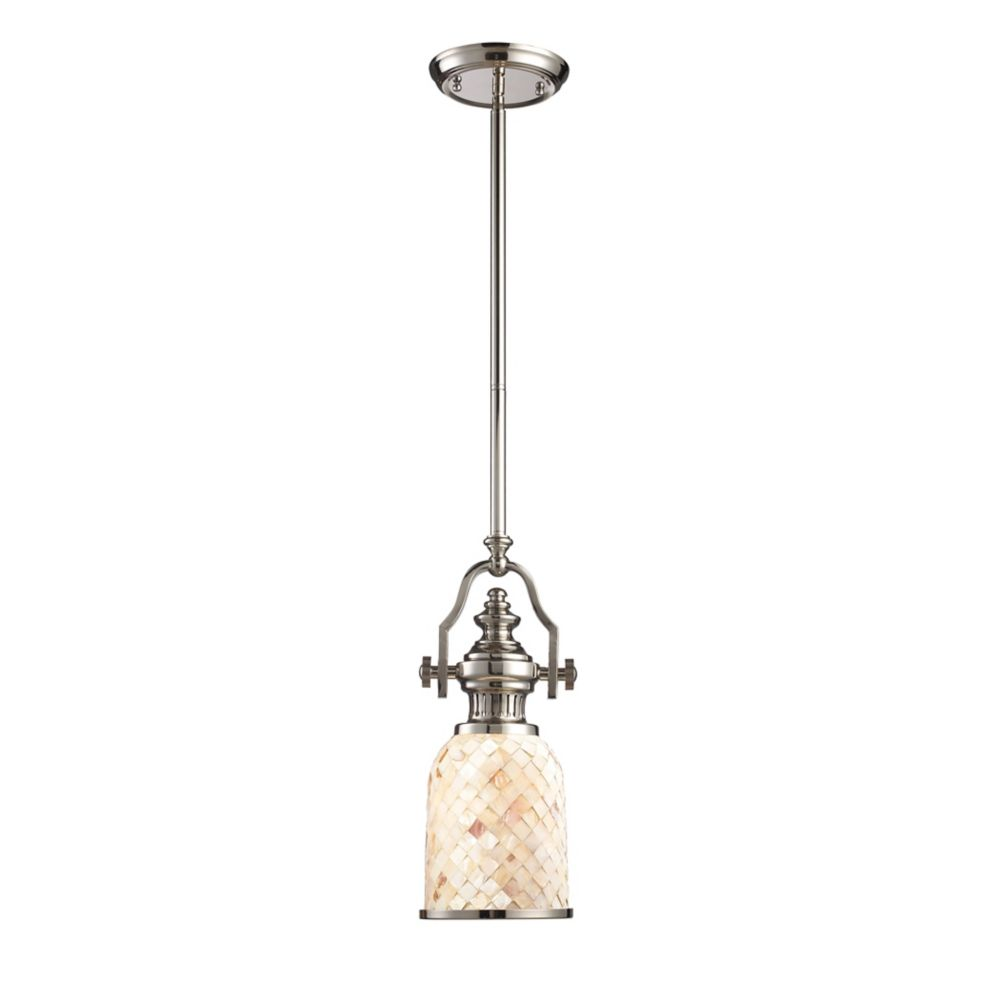 Chadwick 1-Light Pendant Polished Nickel And Cappa Shell