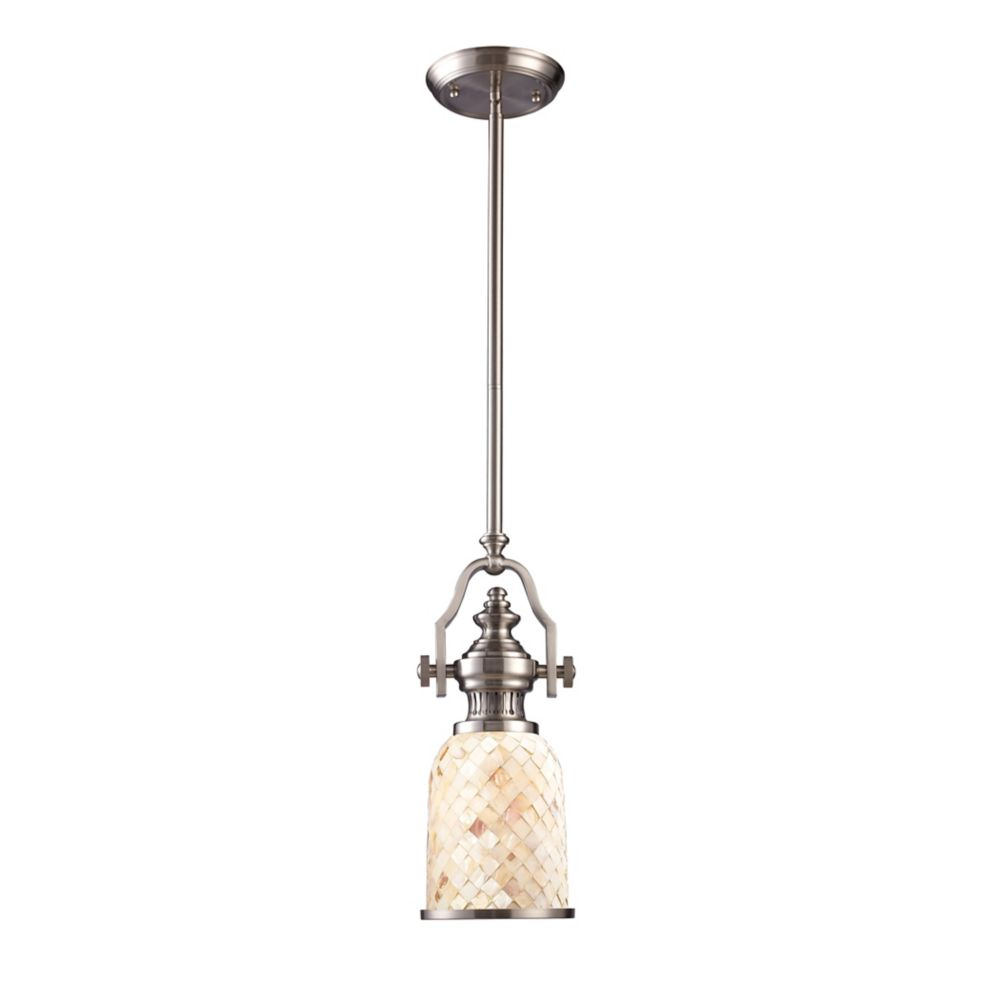 Chadwick 1-Light Pendant In Satin Nickel And Cappa Shell