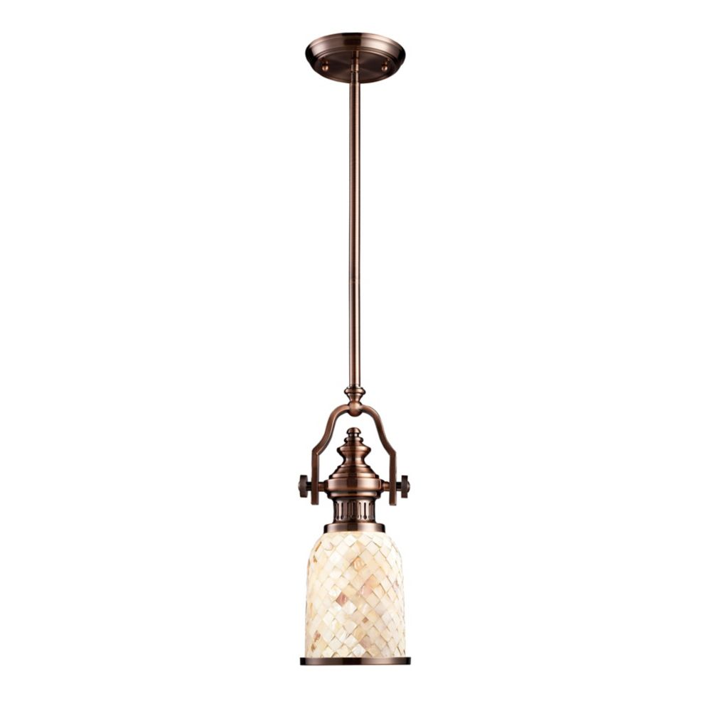 Chadwick 1-Light Pendant In Antique Copper And Cappa Shell