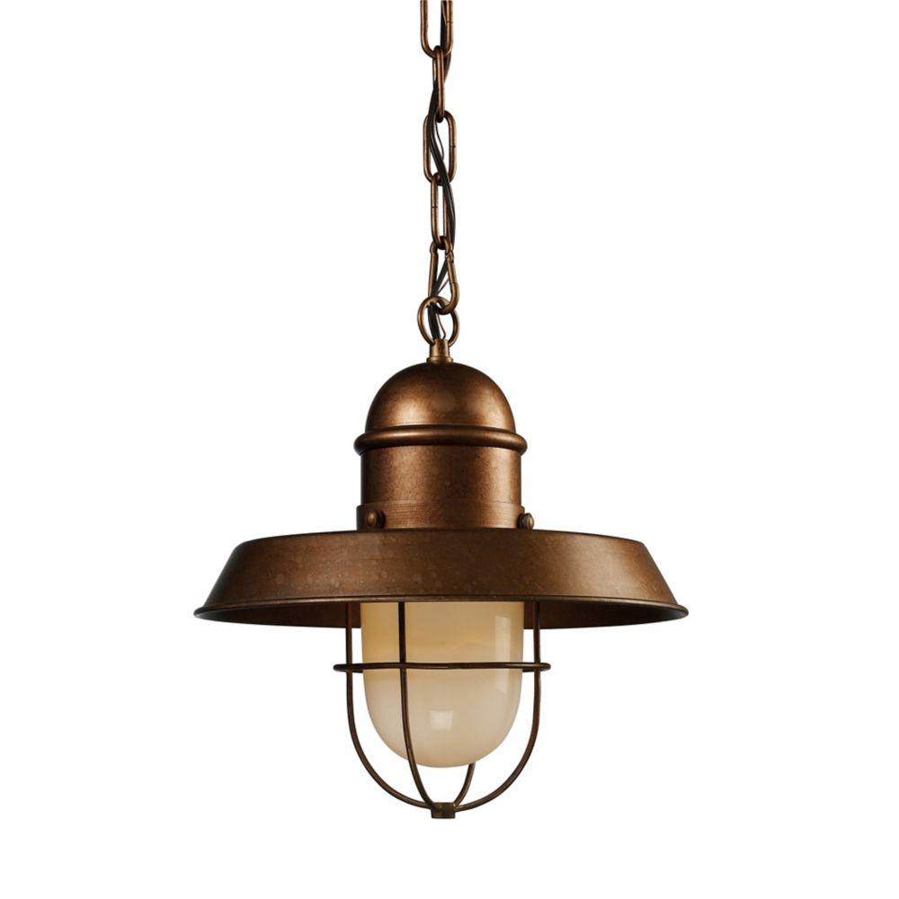 Luminaire suspendu à 1ampoule Farmhouse au fini cuivre authentique
