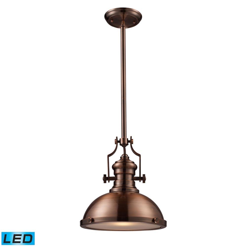 Luminaire suspendu à 1ampoule DEL Chadwick au fini cuivre antique