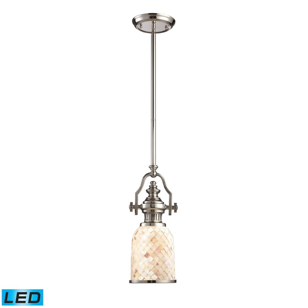 Chadwick 1-Light Pendant Polished Nickel And Cappa Shell - LED
