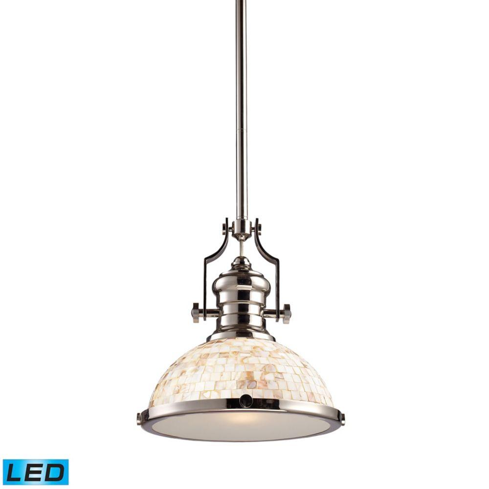 Chadwick 1-Light Pendant Polished Nickel And Cappa Shell - LED