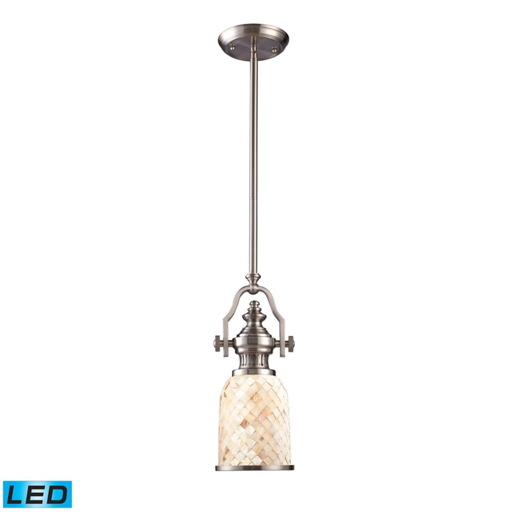 Chadwick 1-Light Pendant In Satin Nickel And Cappa Shell - LED