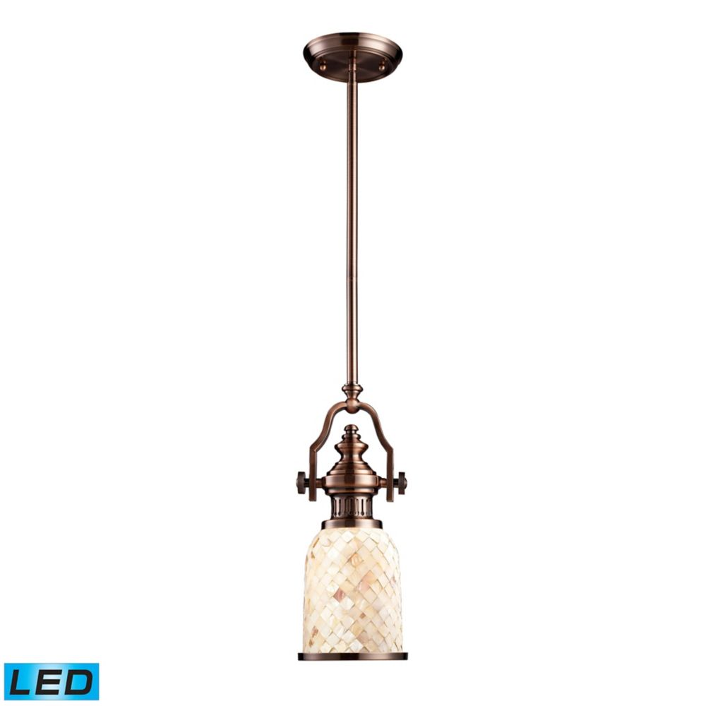 Chadwick 1-Light Pendant In Antique Copper And Cappa Shell - LED